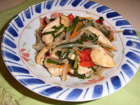 鶏のささ身とカラフル野菜炒め