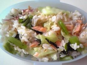 わさび野沢菜と鮭のまぜごはん