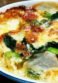 味噌がミソの里芋と小松菜の和風グラタン