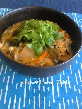 キムチで酸辣湯(スーラータン)雑炊☆