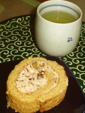 秋のデザート☆栗のロールケーキ