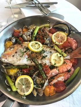 鯛のアクアパッツァ&レモンバターパスタ