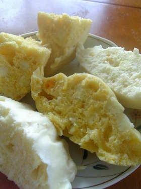 黄色い蒸しパン♪簡単!ふわふわで幸せ~♪