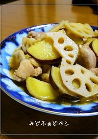 鶏と蓮根とさつま芋✿柚子胡椒でサッと煮