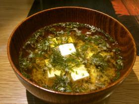 ぎばさ(長藻、あかもく)の味噌汁@豆腐