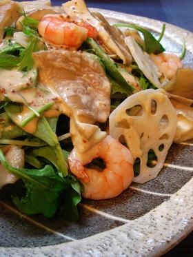 あわび茸と海老のサラダ