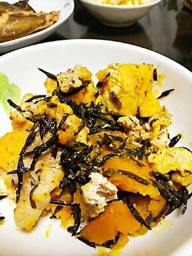 かぼちゃ豚こま厚揚げひじきの煮物