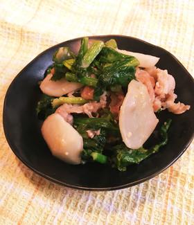 チャチャッとできる☆かぶと豚肉の味噌炒め