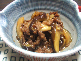 茄子と牛肉のオイスターソース炒め