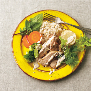 ご飯+蒸し鶏温野菜