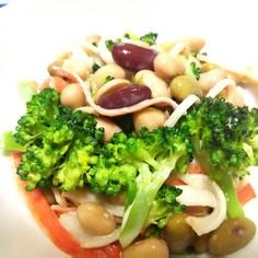 ブロッコリーと豆とカニカマのサラダ