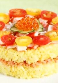 パーティー☆かにといくらのケーキ寿司