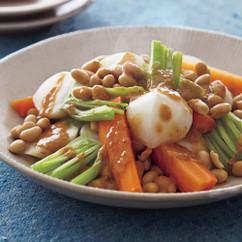 大豆と根菜の蒸しサラダ