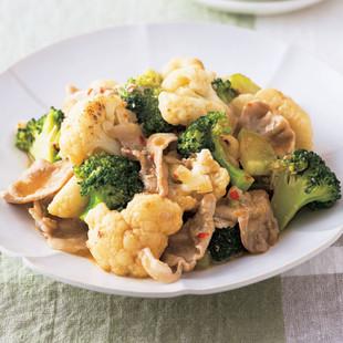 豚肉と花野菜の辛みそ炒め