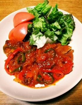 厚切り豚肉ロースソテーの甘~い野菜ソース