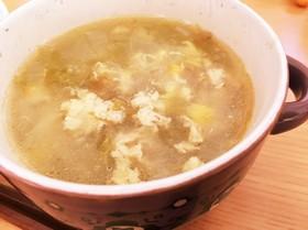 コーンとレタスの中華スープ