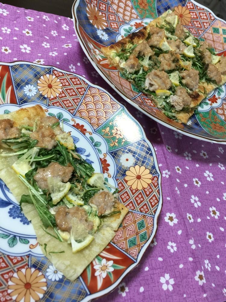 魚焼きグリルで❤️ネギトロと水菜のパイ
