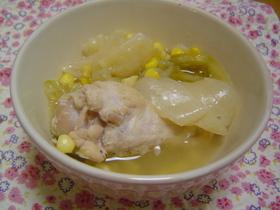 簡単!キャベツとコーン☆手羽元スープ煮