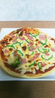 魚焼きグリルで手作りピザの写真