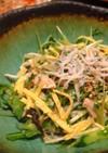 鶏ささみと水菜のおつまみしらすサラダ