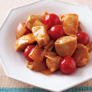 鶏むねとプチトマトのチリ炒め