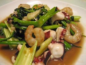 エンサイ(空心菜)とセロリの海鮮炒め