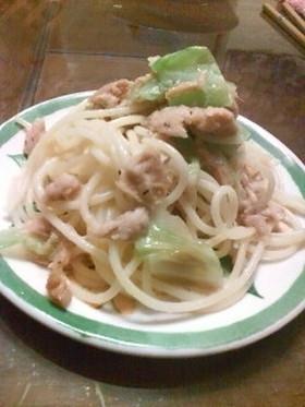 (・o・)ツナとキャベツのスパゲッティ