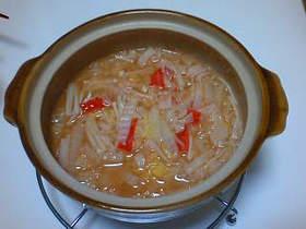 赤い雑炊♪酢豚味