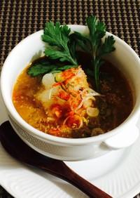 サバ水煮缶でカレースープ