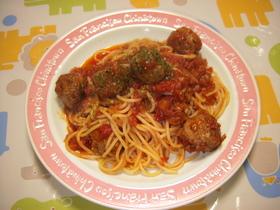 ボリューム満点肉団子とトマトのパスタ