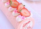 いちごの春色ロールケーキ
