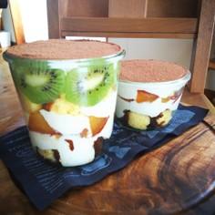 フルーツティラミス第3段 豆腐とリンゴ