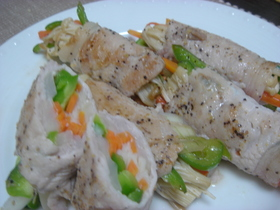 巻くだけ簡単☆栄養満点☆豚肉の野菜巻き