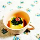 たまご豆腐に、小松菜&紅生姜♪