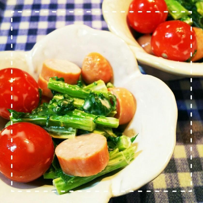 レンジだけ!大根の葉とミニトマトのサラダ