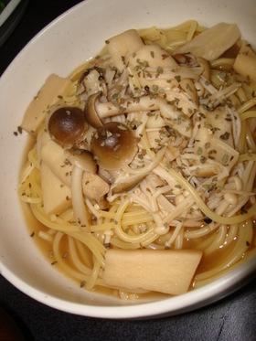 秋の味覚☆あっさりきのこのスープスパ
