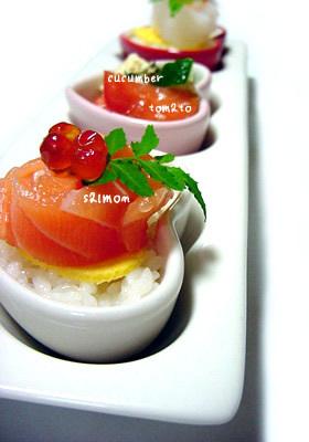 ミニハート寿司ケーキ