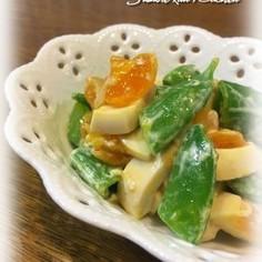 煮卵とスナップエンドウのサラダ