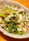 イカ、鶏ささみ、セロリの沢庵サラダ