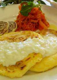米粉と豆腐のヘルシーパンケーキ
