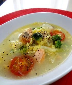 ブロッコリー鮭トマトの美容と健康スープ♪