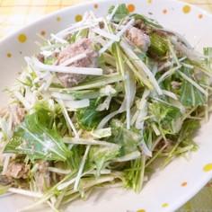 簡単♪鯖缶&水菜・新玉混ぜ混ぜサラダ