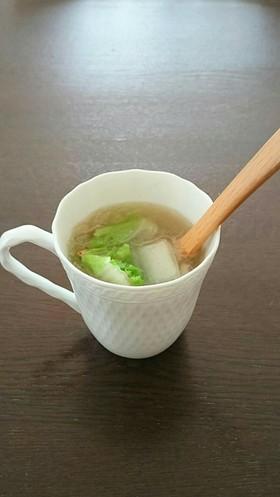 減塩レシピ  白菜ベーコン 寒天のスープ