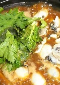 牡蠣鍋は豚バラごぼう舞茸ねぎ春菊赤だしで