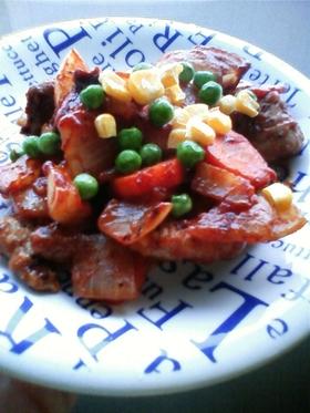 豚肉のオーロラソース炒め
