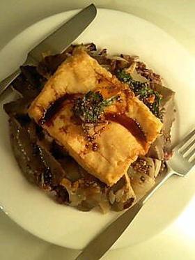 厚揚げ・平茸の蒸しステーキ丼