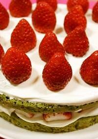 米粉☆抹茶のデコレーションケーキ