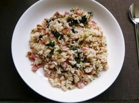 青菜とベーコンの納豆チャーハン