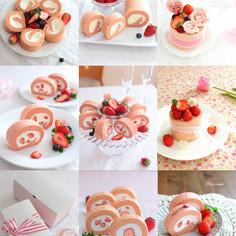 ひな祭りにも^^苺のシフォンロールケーキ