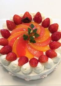 ひな祭りに桃のデコレーションケーキ